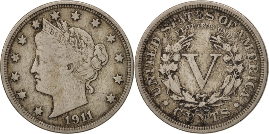 US Coins - United States, Liberty Nickel, 5 Cents, 1911, U.S. Mint, Philadelphia