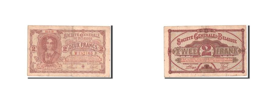 World Coins - Belgium, Société Générale de Belgique, 2 Francs, 22.5.1918, KM:87
