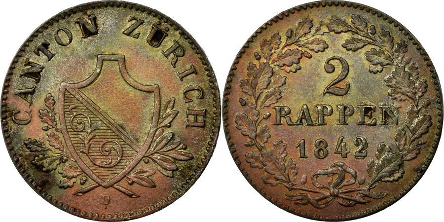 World Coins - Coin, SWISS CANTONS, ZURICH, 2 Rappen, 1842, AU(55-58), Billon, KM:195