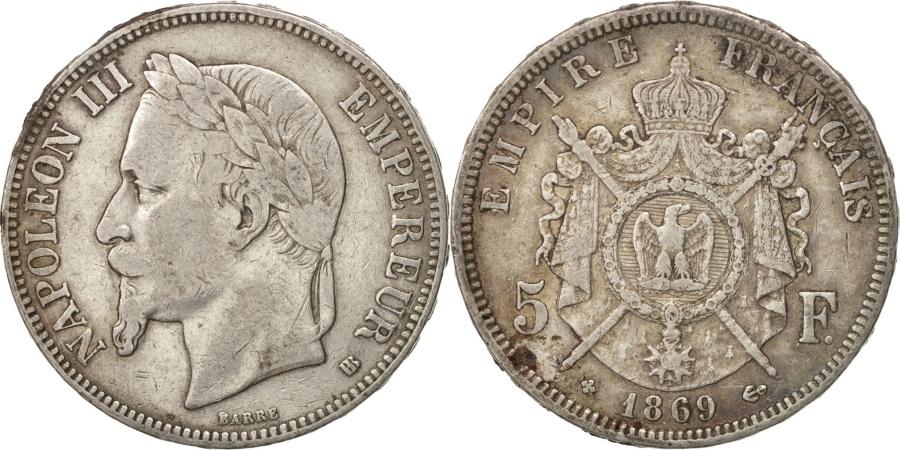 World Coins - France, Nappoléon III, 5 Francs, 1869, Strasbourg, , Silver, KM:799.2