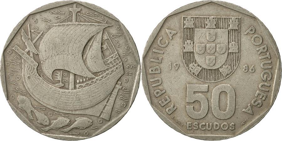 World Coins - Portugal, 50 Escudos, 1986, , Copper-nickel, KM:636