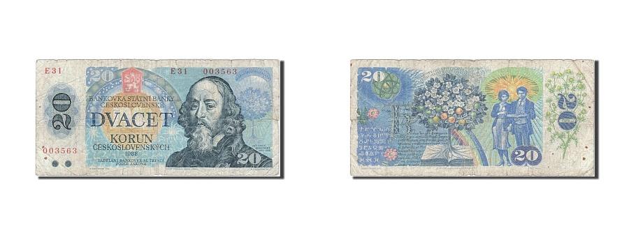 World Coins - Czechoslovakia, 20 Korun, 1988, KM #95, F(12-15), E 31