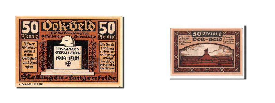 World Coins - Germany, Stellingen, 50 Pfennig, Monument, 1920-10-01, UNC(65-70), Mehl:1265.2