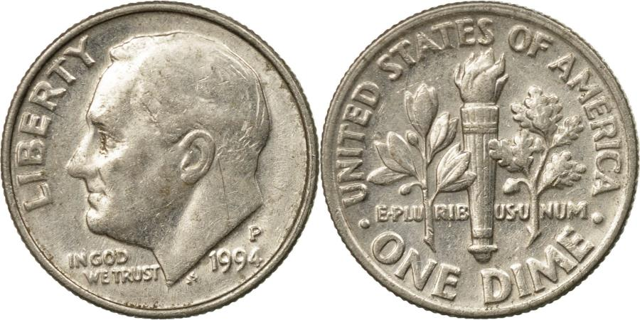 US Coins - Coin, United States, Roosevelt Dime, Dime, 1994, U.S. Mint, Philadelphia