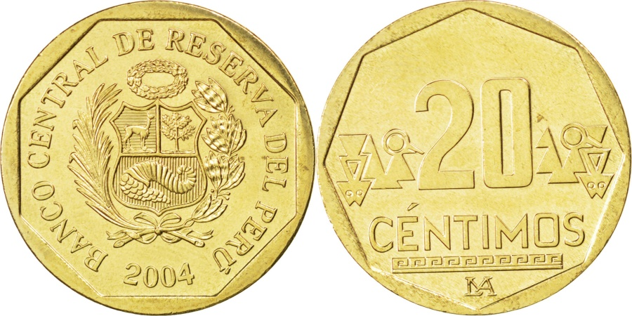 World Coins - PERU, 20 Centimos, 2004, Lima, KM #306.4, , Brass, 23, 4.40