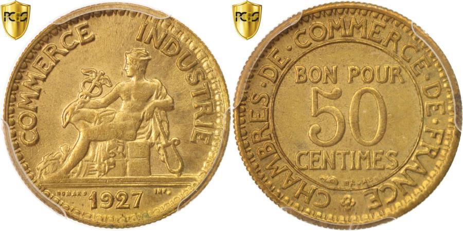 World Coins - Coin, France, Chambre de commerce, 50 Centimes, 1927, Paris, PCGS, MS64,