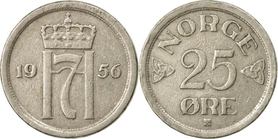 Coin Norway Haakon VII 25 Re 1956 Copper Nickel KM401