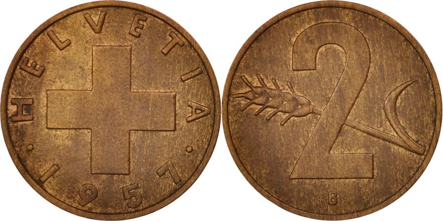 World Coins - Switzerland, 2 Rappen, 1957, Bern, , Bronze, KM:47