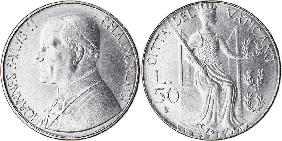 World Coins - Coin, VATICAN CITY, John Paul II, 50 Lire, 1979, Roma, , Stainless Steel