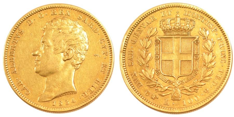 World Coins - ITALIAN STATES, 100 Lire, 1834, Torino, KM #133.1, , Gold, 34, 32.16