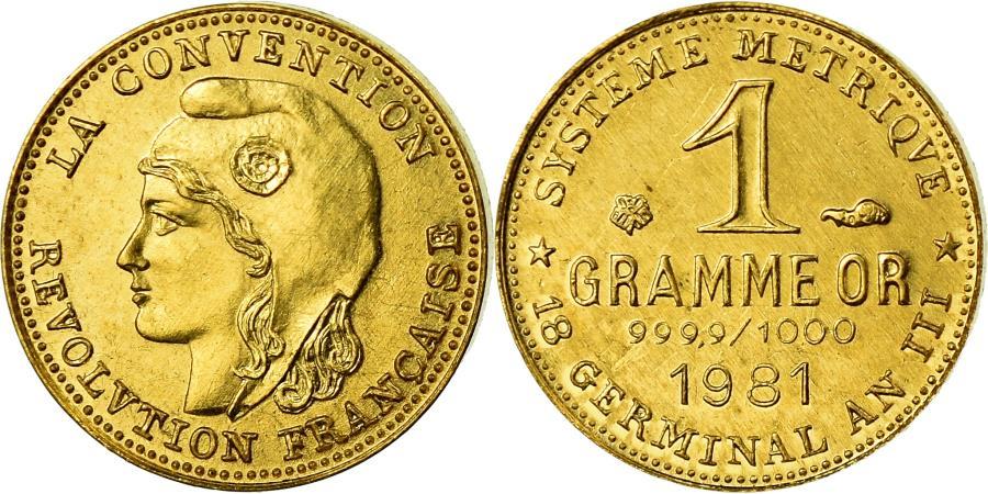 World Coins - France, Medal, Révolution, 1 Gramme d'or Germinal, History, 1981,