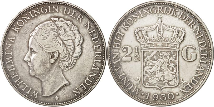 World Coins - Netherlands, Wilhelmina I, 2-1/2 Gulden, 1930, , Silver, KM:165