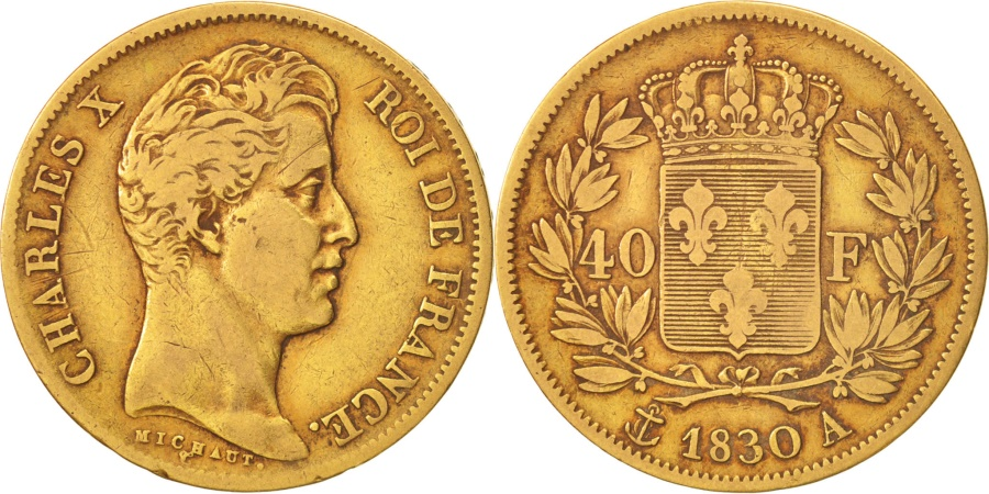 World Coins - France, Charles X, 40 Francs, 1830, Paris, , Gold, KM:721.1