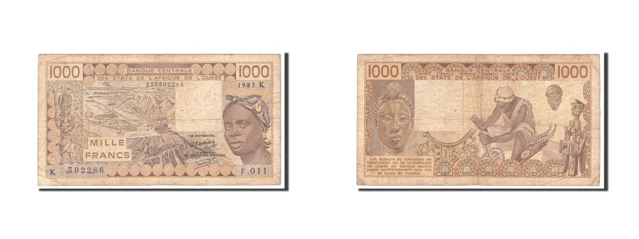 World Coins - Senegal, 1000 Francs, 1985, Undated, KM:707Kf, VG(8-10)