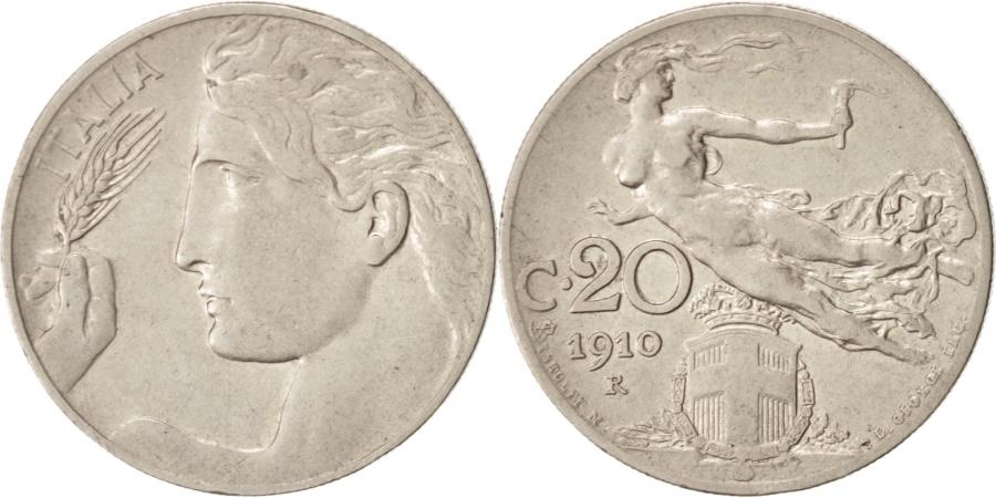 World Coins - Italy, Vittorio Emanuele III, 20 Centesimi, 1910, Rome, , Nickel, KM:44