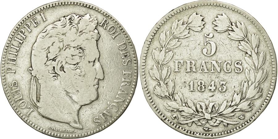 World Coins - Coin, France, Louis-Philippe, 5 Francs, 1843, Lille, VF(20-25), Silver
