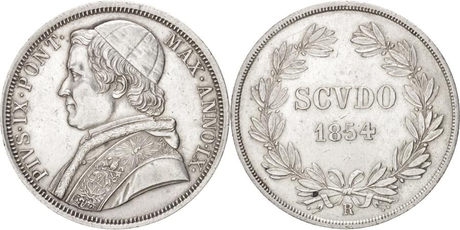 World Coins - ITALIAN STATES, PAPAL STATES, Pius IX, Scudo, 1854 R, Rome, Silver, KM:1336.2