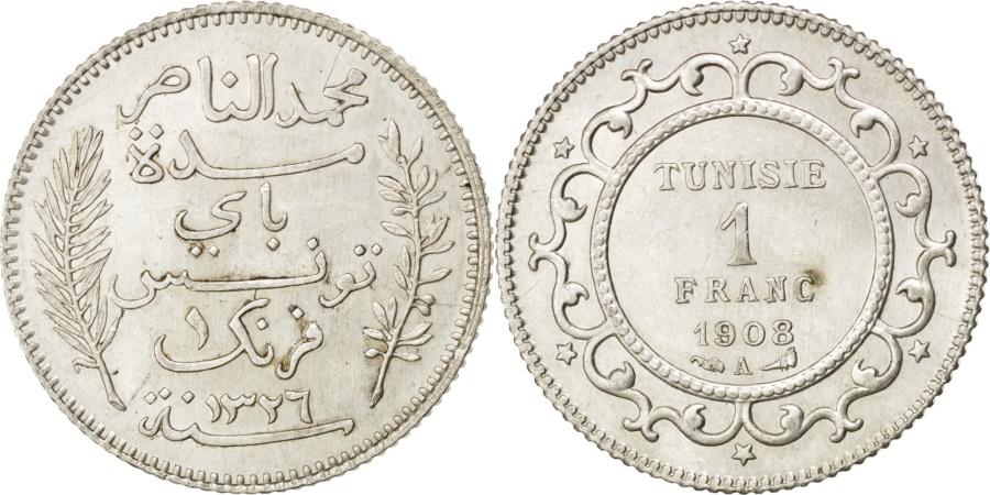 World Coins - TUNISIA, Franc, 1908, Paris, KM #238, , Silver, Lecompte #207, 5.01