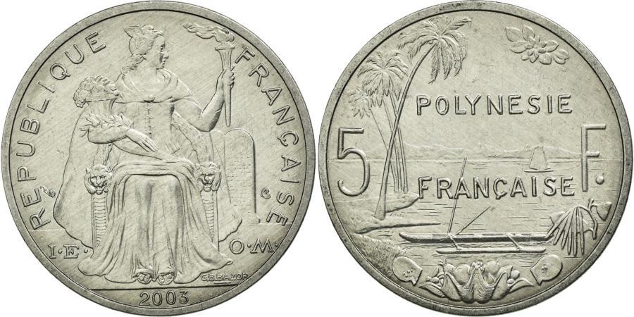 World Coins - Coin, French Polynesia, 5 Francs, 2003, Paris, AU(50-53), Aluminum, KM:12