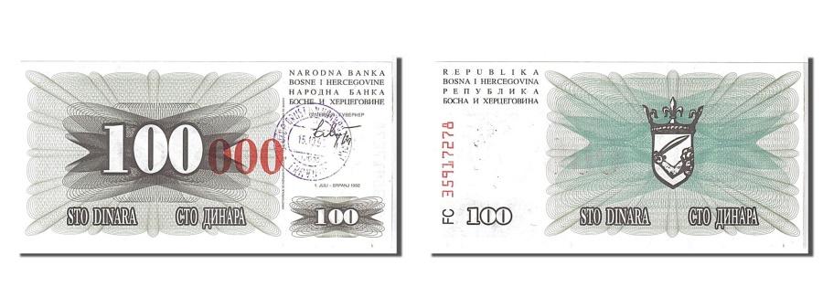 World Coins - Bosnia - Herzegovina, 100,000 Dinara, 1993, KM #56b, UNC(65-70), FC35917278