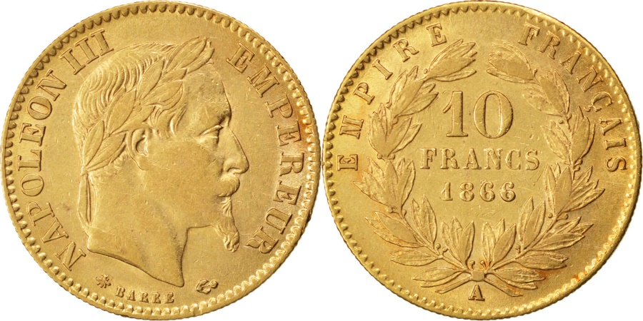 World Coins - FRANCE, Napoléon III, 10 Francs, 1866, Paris, KM #800.1, , Gold, Gadour
