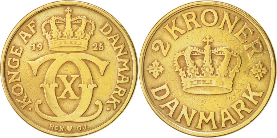 World Coins - Denmark, Christian X, 2 Kroner, 1925, Copenhagen, KM:825.1