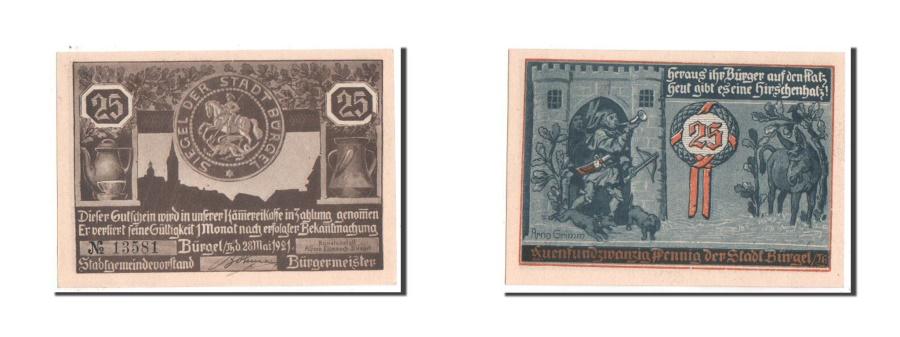 World Coins - Germany, Burgel Stadt, 25 Pfennig, 1921, UNC(64), Mehl #201.1a