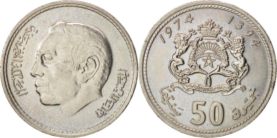 World Coins - Morocco, al-Hassan II, 50 Santimat, 1974, , Copper-nickel, KM:62