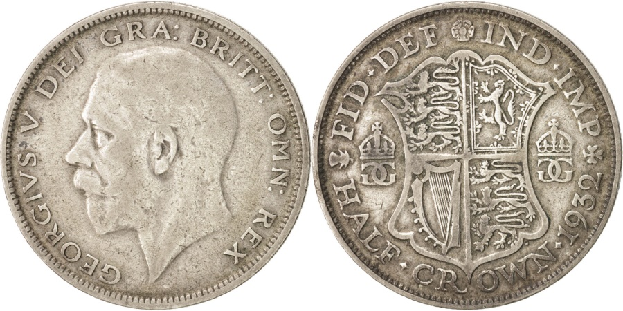 World Coins - Great Britain, George V, 1/2 Crown, 1932, , , Silver,...
