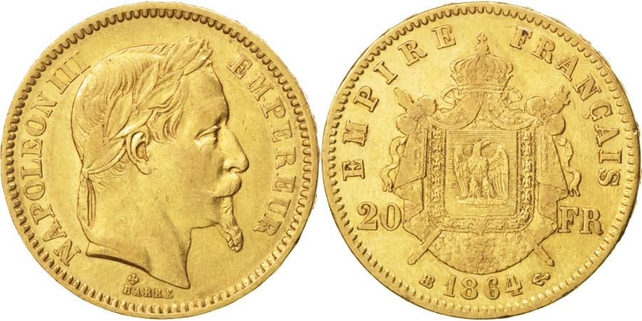 World Coins - FRANCE, Napoléon III, 20 Francs, 1864, Strasbourg, KM #801.2, , Gold, G