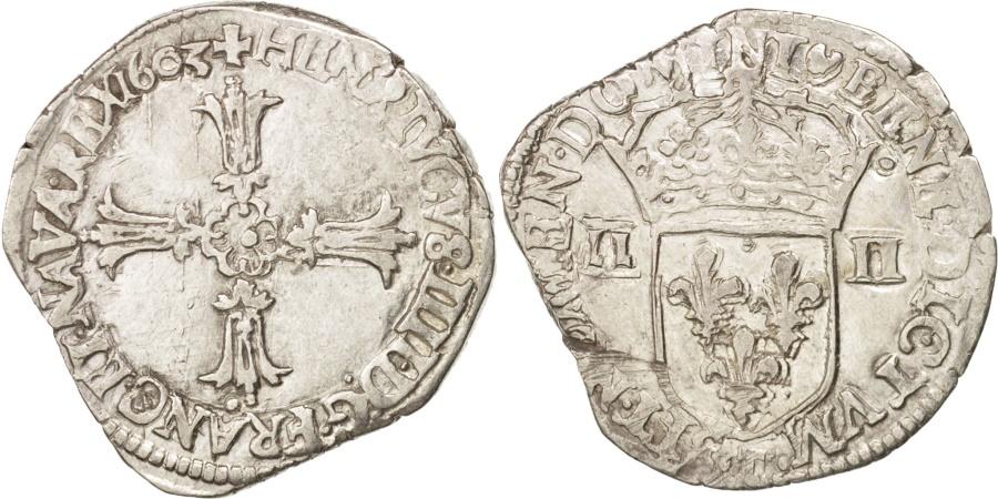 World Coins - France, Henri IV, 1/4 Ecu, 1603, Nantes, , Silver, Sombart:4686