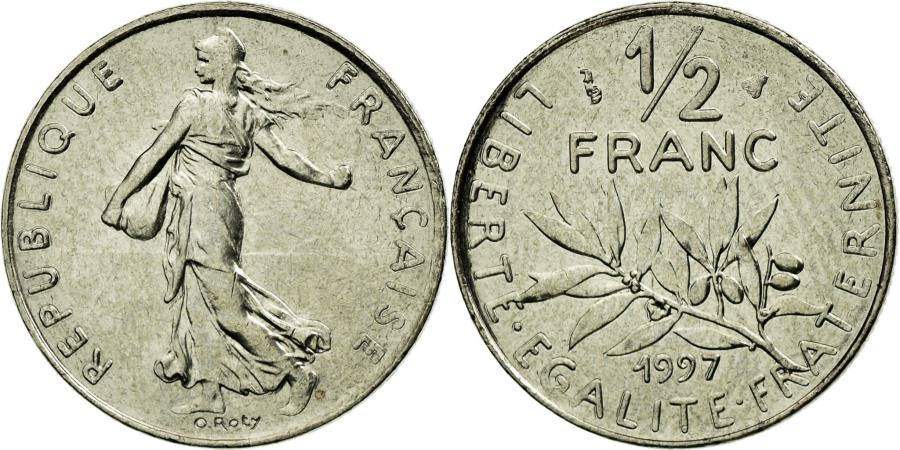 World Coins - Coin, France, Semeuse, 1/2 Franc, 1997, MS(65-70), Nickel, KM:931.1, Gadoury:429