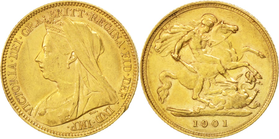World Coins - GREAT BRITAIN, 1/2 Sovereign, 1901, KM #784, , Gold, 4.01