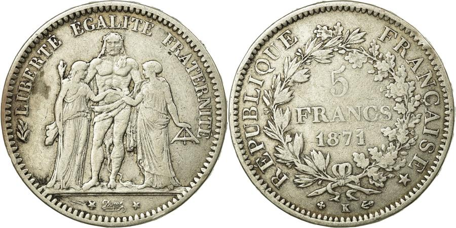World Coins - Coin, France, Hercule, 5 Francs, 1871, Bordeaux, VF(30-35), Silver, KM:820.2