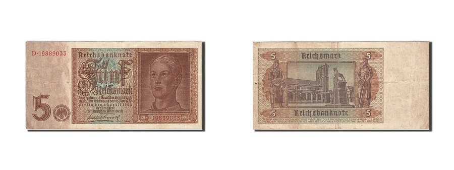 World Coins - Germany, 5 Reichsmark, 1942, KM:186a, 1942-08-01, VF(30-35)