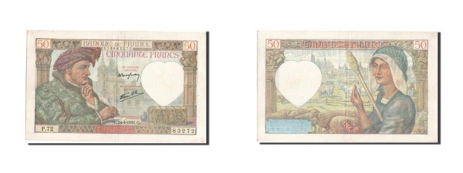 World Coins - France, 50 Francs, 50 F 1940-1942 ''Jacques Coeur'', 1941, KM #93, 1941-04-24,..