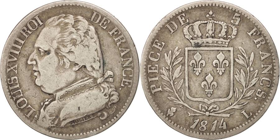 World Coins - FRANCE, Louis XVIII, 5 Francs, 1814, Bayonne, KM #702.8, , Silver,...