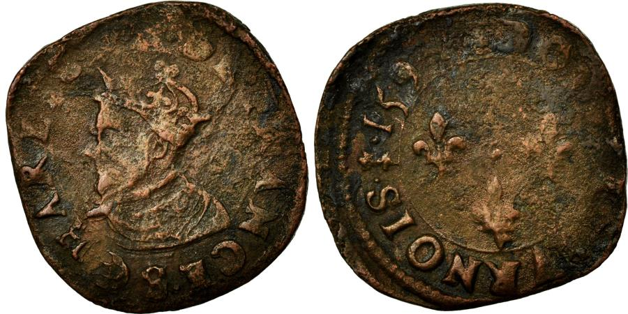 World Coins - Coin, France, Double Tournois, 1594, Troyes, VF(30-35), Copper, Duplessy:1186
