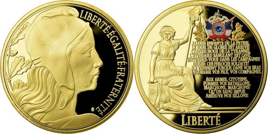 World Coins - France, Medal, Liberté, La Marseillaise, 2015, , Copper Gilt