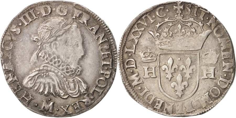 World Coins - France, Henri III, Teston, 1576, Toulouse, , Silver, Sombart:4654