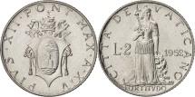 VATICAN CITY, Pius XII, 2 Lire, 1952, Aluminum, KM:50