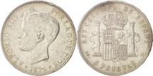 Spain, Alfonso XIII, 5 Pesetas, 1896, Valencia, EF(40-45), Silver, KM:707