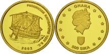 Ghana, 500 Sika, 2002, Phoenician navigators, MS(65-70), Gold