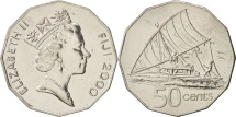 World Coins - Fiji, Elizabeth II, 50 Cents, 2000, MS(64), Nickel Bonded Steel, KM:54a
