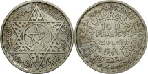 Morocco, Mohammed V, 100 Francs, 1953, Paris, EF(40-45), Silver, KM:52