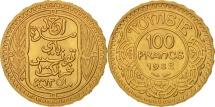 Tunisia, Ahmad Pasha Bey, 100 Francs, 1932, Paris, AU(55-58), Gold, KM:257