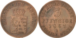 World Coins - GERMAN STATES, 3 Pfennige, 1867, Hannover, KM #98, , Copper, 4.42