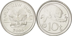 World Coins - PAPUA NEW GUINEA, 10 Toea, 2006, KM #4a, , Nickel Plated Steel, 23.72,...