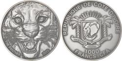 World Coins - Coin, Ivory Coast, Panther, 1000 Francs CFA, 1 Silver Oz, 2013,