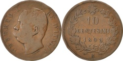 World Coins - ITALY, 10 Centesimi, 1893, Rome, KM #27.2, , Copper, 9.85